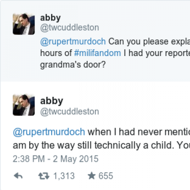 The 'Milifandom' founder has accused Rupert Murdoch of sending reporters to her home