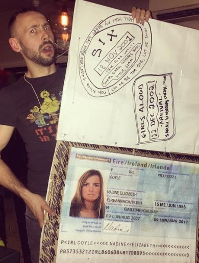 Someone dressed up as Nadine Coyle's 'lost' passport, and it was glorious