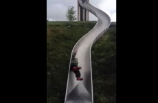 This kid somehow walked away from Dublin's slippiest slide uninjured