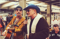 U2 performed a surprise busking session for New York subway commuters last night