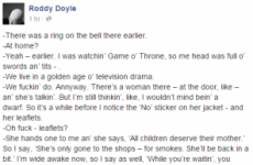 Roddy Doyle just used Game of Thrones to argue in favour of same-sex marriage