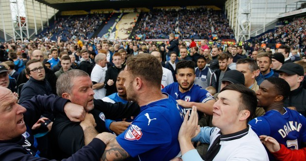 Chesterfield captain accuses rival fans of 'punching and kicking' him during pitch invasion