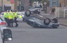Car flips over in rush hour crash in Dublin