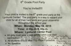 This mam was shocked at the dress code for girls at a pool party and let it be known