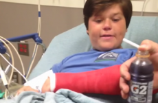 Boy breaks his arm, marvels at his new cast while hopped up on pain meds