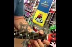 These lads are going viral for absolutely tearing up toy guitars in a supermarket