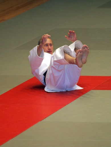 Vladimir Putin is nervous about starting yoga