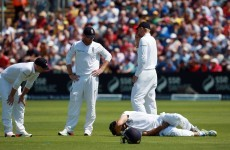 Poor Alastair Cook got a cricket ball into his special area during the Ashes today