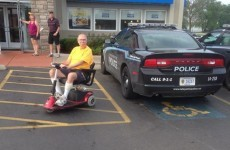 A police car parked in a disabled spot has gone hugely viral