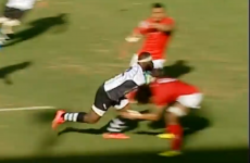 Sit down! Fiji scored a brilliantly powerful try against Tonga