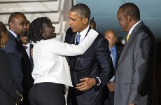 Barack Obama has been greeted by his family in Kenya