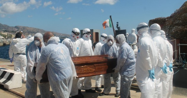 LÉ Niamh disembarks 14 bodies found on overcrowded barge