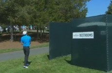 Nick Watney somehow managed to save par from behind a toilet