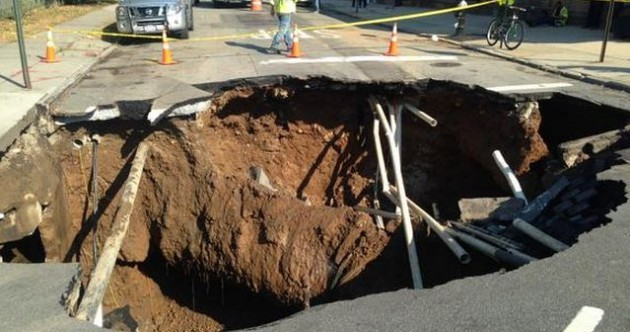 A massive sinkhole has opened up in Brooklyn