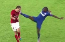 How on earth did Demba Ba escape a red card after this?