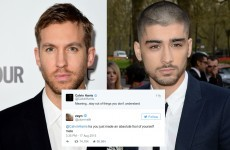 Zayn Malik called Calvin Harris a d***head in an epic Twitter feud last night