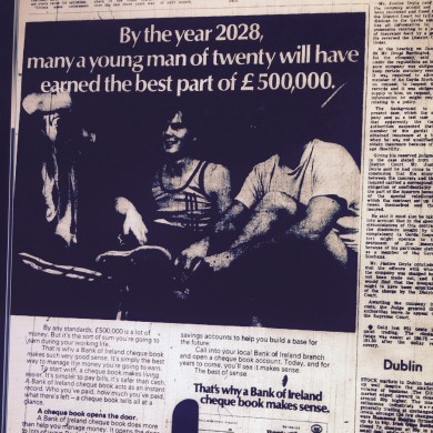 This 1970s Bank of Ireland ad had a go at predicting your earnings for 2028