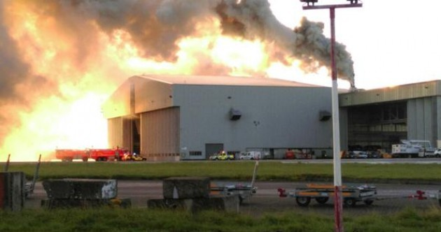 One of Cityjet's airplanes was in the hangar that went on fire at Dublin Airport