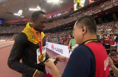 Usain Bolt and the runaway Segway cameraman were reunited this afternoon