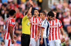 Stoke earned two straight red cards in five first-half minutes