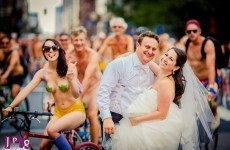 Thousands of naked cyclists photobomb wedding shoot