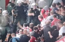 There were ugly scenes in Athens last night as police clashed with Bayern Munich supporters