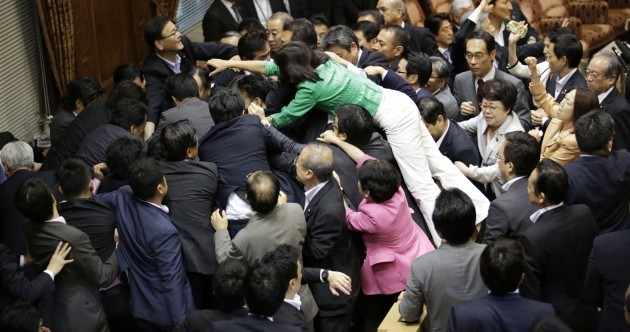 WATCH: Japanese politicians get into massive brawl… over pacifism