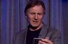 Take a break and watch Liam Neeson read the words 'Eat s**t fart breath Neeson'