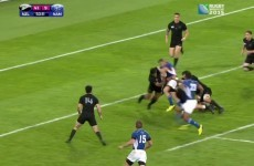 See Namibia's Johan Deysel send an All Black over on his backside en route to a try