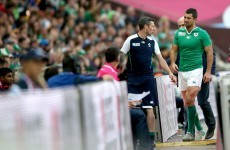 Rob Kearney put on ice after straining glute to score try