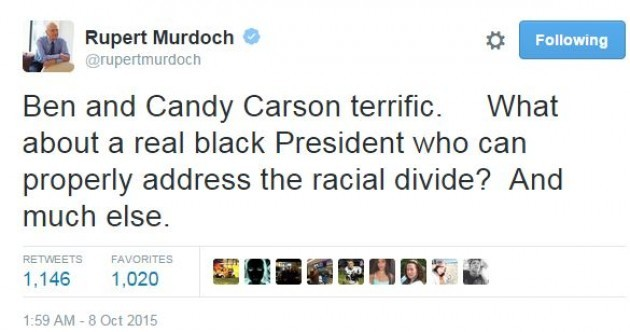 Rupert Murdoch under fire over tweet about 'real black President'
