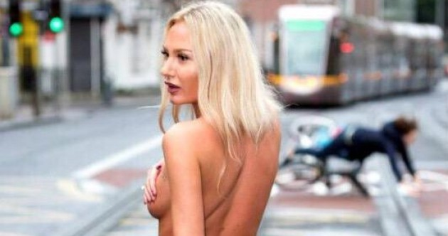 Here's what happens when there's a topless photo shoot on a Dublin street