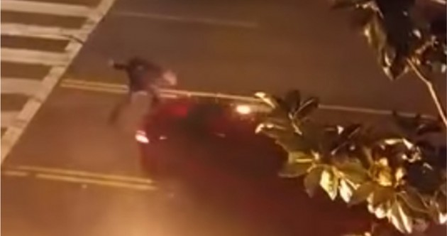 WATCH: Man attacking cars with a machete gets run over