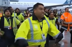 Airport staff welcome All Blacks home with Haka on the runway