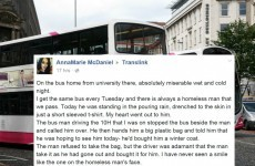 This act of kindness by an Irish bus driver to a homeless man is absolutely lovely