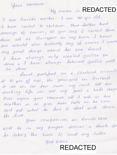 Friends, neighbours and his 80-year-old mother wrote letters of support for David Drumm