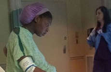 Oh nothing, just a photo of a woman doing an exam WHILE IN LABOUR