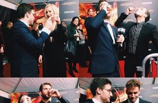 Jlaw and the Hunger Games cast did a rake of shots on the red carpet… it's the Dredge
