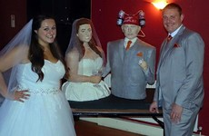 A bride baked an insane life-sized wedding cake of herself and her husband