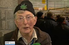 A Carlow farmer wore some interesting headgear on this evening's news