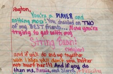 A teacher came across this girl's hilarious note to a cheating lad