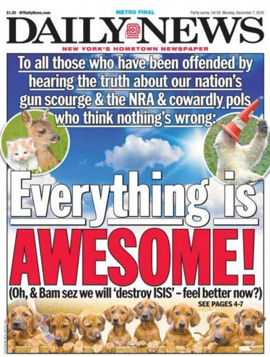 This newspaper's front page about gun control is amazing