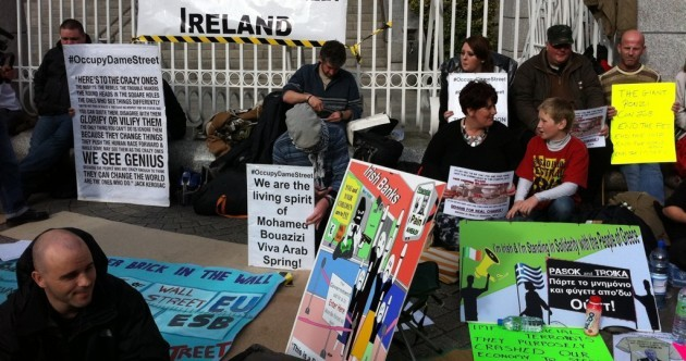 In pictures: Protesters occupy Dame Street