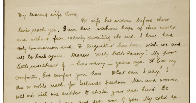 "1916 signatory tells wife she'll be a ""widow before these lines reach you"" in letters released online"