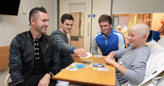 Johnny Sexton and Robbie Keane played a few hands in Crumlin Children's Hospital today