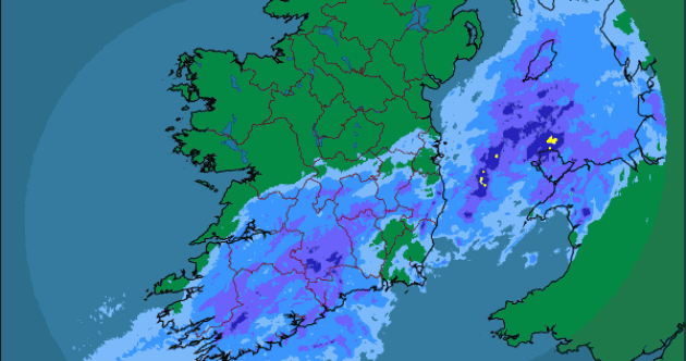 There's a lot of rain over the bottom half of Ireland right now