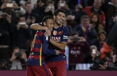 This is either the flukiest or best assist of 2015 from Neymar