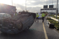 Car flips over on M50 slip road