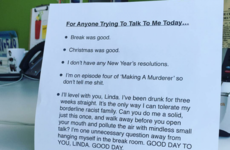 An office worker came up with the perfect post-Christmas desk sign