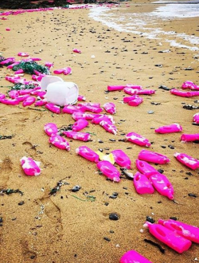 Hundreds of bright pink bottles of Vanish have been washing up on an English beach